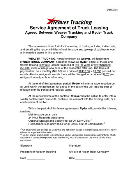 Agreement Letter For Driver Best Photos Of Sle Truck Lease Company Truck Lease Agreement Forms Truck Lease Agreement