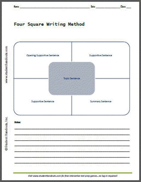 four square writing method template four square writing method free printable template worksheet