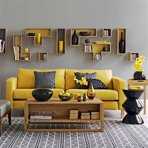 yellow  grey living room contemporary living rooms