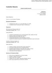custodian resume student resume template