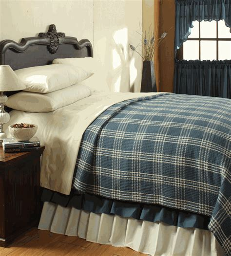 Blue Coverlet Easton Blue Plaid Woven Coverlet By Vhc Brands