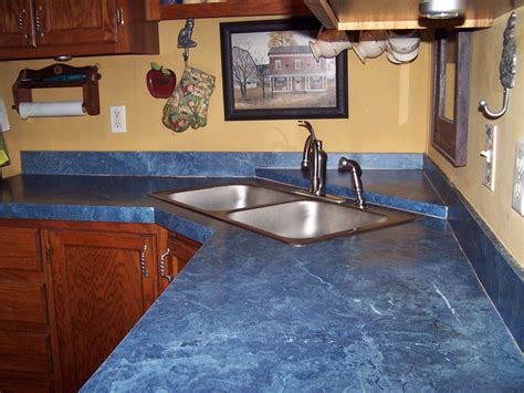 Blue Kitchen Countertops Modern Kitchen Interior Design With Blue Countertop Materials Tile With Small Washbasin And