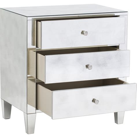 Nightstands With Mirrored Drawers narrow custom diy mirrored nightstand with 3 drawers for small bedroom spaces ideas