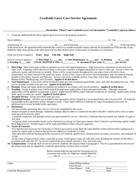 Lawn Service Contract Template It Resume Cover Letter Sle Free Landscape Maintenance Contract Template