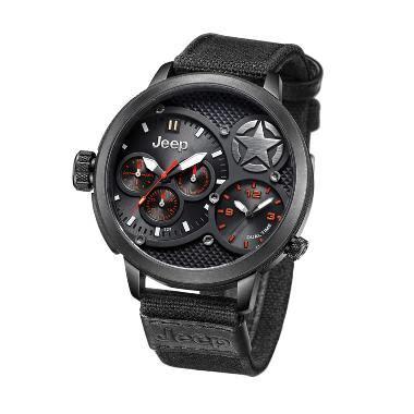 Jam Tangan Jeep Leather Black tali jam tangan canvas jeep jual produk terbaru