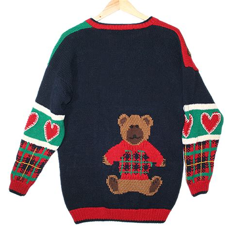 valentines day sweaters teddy bears and hearts vintage 90s chunky tacky valentines