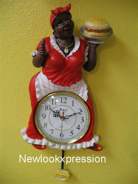 black american aunt jemima pendulum wall clock kitchen bar