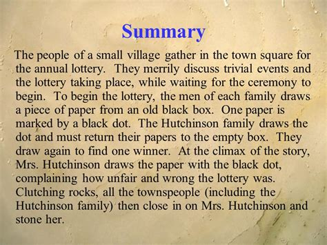 shirley synopsis the lottery shirley jackson ppt