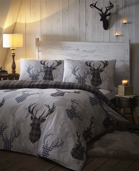 bedroom linen sets tartan check stag rein deer duvet quilt cover bedding bed