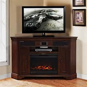 Mulberry corner tv stand with built in surround sound and fireplace