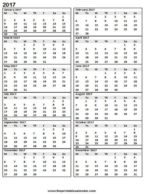 12 Month Calendar 2017 Calendar 2017 Printable 12 Month Calendar On One Page
