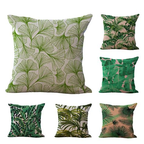 tropical throw pillows for couch tropical jungle green plant leaf cushion cover sofa throw
