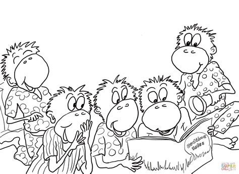 ten little monkeys coloring page ausmalbild five little monkeys f 252 nf kleine affen lesen