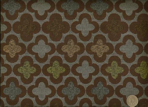 Retro Upholstery Fabric Designtex Bunta Earth Contemporary Retro Floral Blue Brown