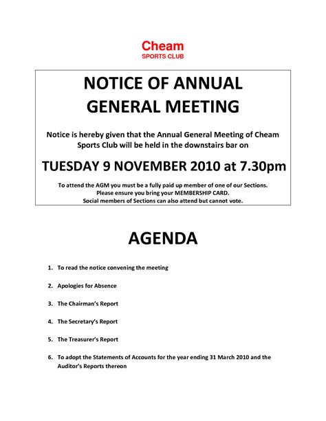 Agm Meeting Template by Annual General Meeting Format Images Cv Letter