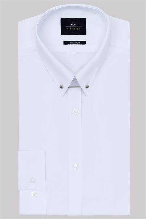 Collar Shirt moss slim fit white single cuff pin collar shirt