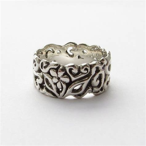 wedding band engraved silver ring silver and patina