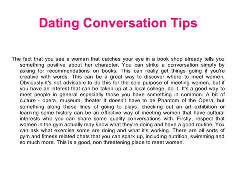 10 Tips For Dating A by Dating Site Conversation Tips For