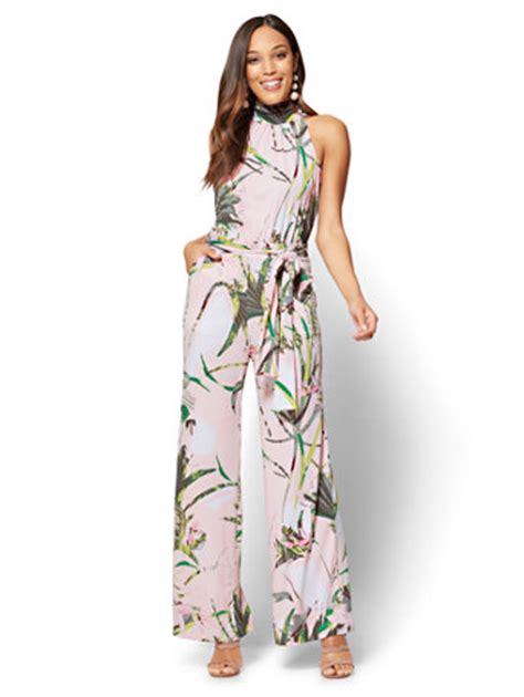 Tropical Print Jumpsuit ny c halter jumpsuit tropical print