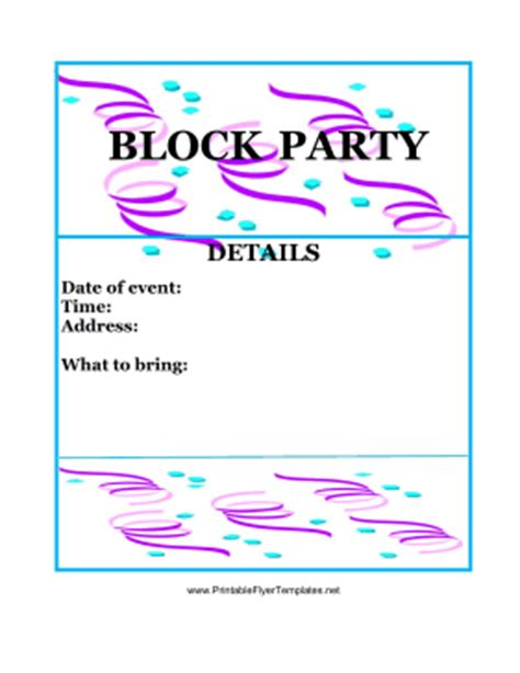 Block Party Flyer Color Flyer Template Printable Free
