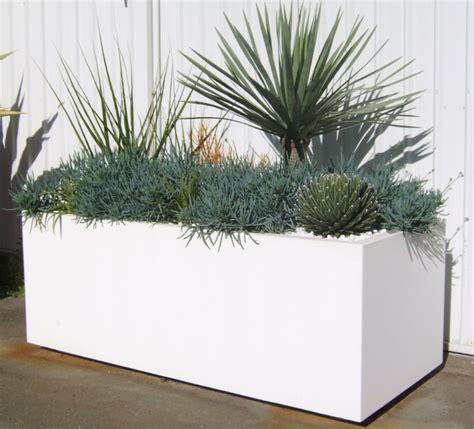 White Trough Planter white trough planter outdoors