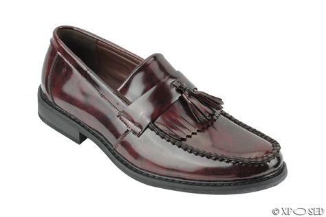 vintage tassel loafers mens vintage style polished faux leather tassel loafers