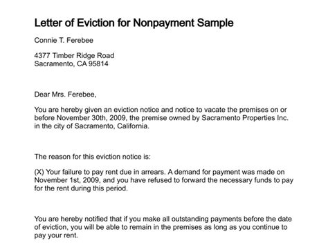 Rent Direction Letter Letter Of Eviction