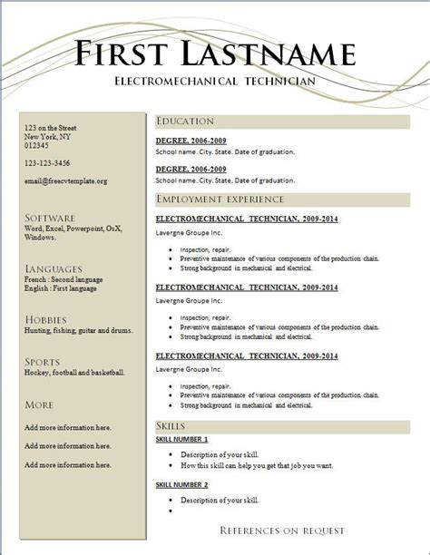best resume templates free resumes free resume templates 2015 and best words