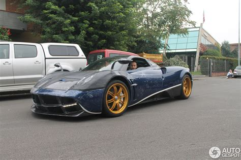 blue pagani blue huayra spotted at the factory