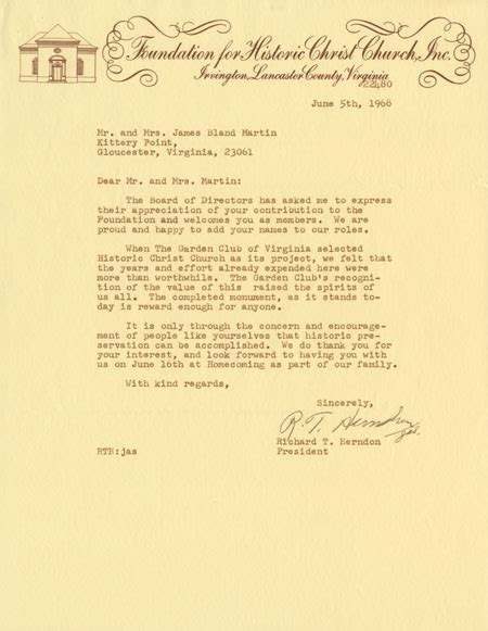 Appreciation Letter To Church Members Christ Church Lancaster Virginia Historical Society