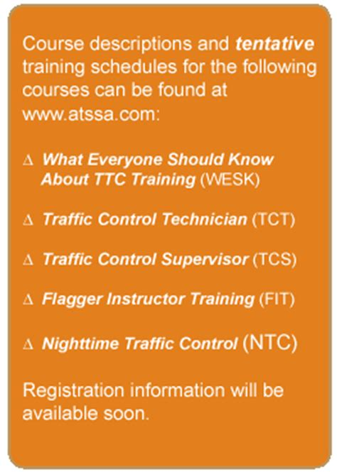 Course On Resources What You Should by Atssa Fhwa Work Zone Safety Grant Focus 2007