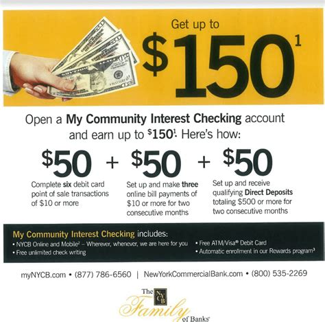 open a new bank account offers new york community bank checking bonus 150 promotion