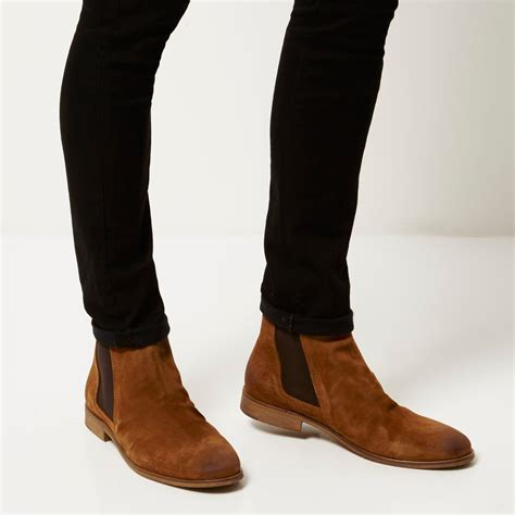 river island brown suede ruched chelsea boots in brown