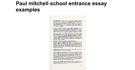 Entrance Essays School by Paul Mitchell School Entrance Essay Exles Docs