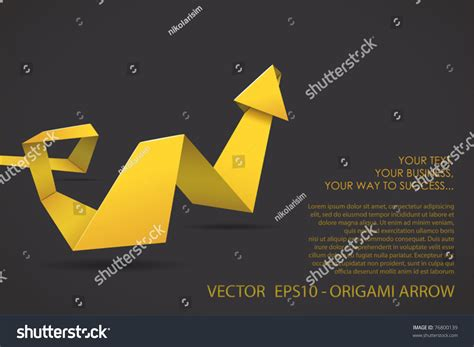 Three Dimensional Origami - origami threedimensional arrow stock vector 76800139