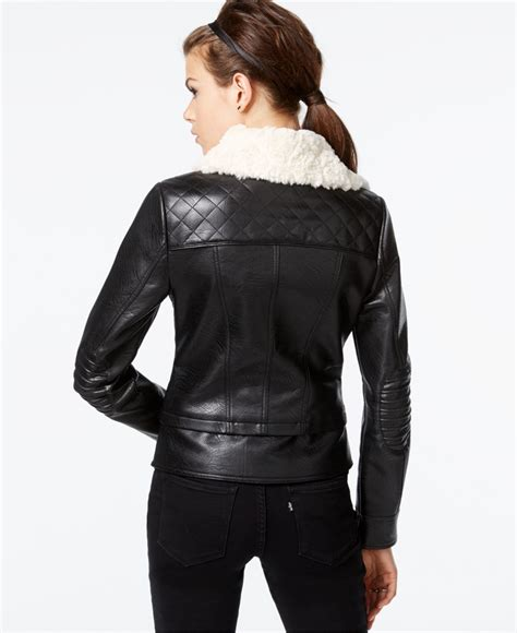 Guess Color Leather Black guess faux fur collar faux leather jacket in black lyst