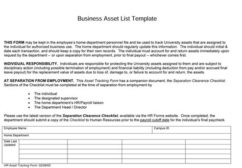 business asset list template 5 asset list templates for word excel 174 and pdf