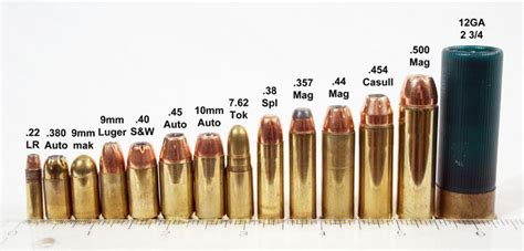 some common handgun cartridges lined up next to a 12
