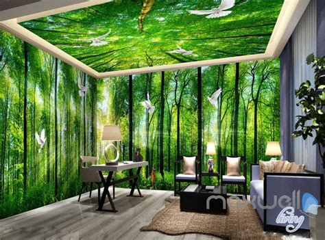 Wall Mural Bedroom 3d sunrise forest deer entire living room bedroom