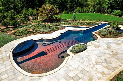 guitar shaped swimming pool dazzling swimming pool replica of an 18th century stradivarius violin freshome