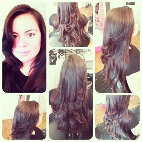 blow drying layered hair for fullness hair stylist desaree s did this long layered haircut and