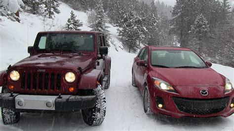 jeep wrangler snow tires 2013 mazda3 vs jeep wrangler snowstorm winter tire mashup