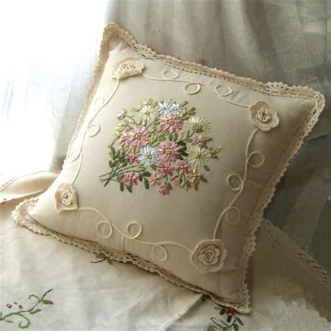 beautiful ribbon embroidery crochet lace cushion cover ebay
