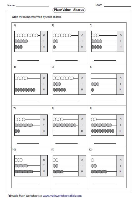 Abacus Math Worksheets Free by Reading Abacus Worksheets