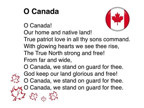 Oh Canada The For And - o canada