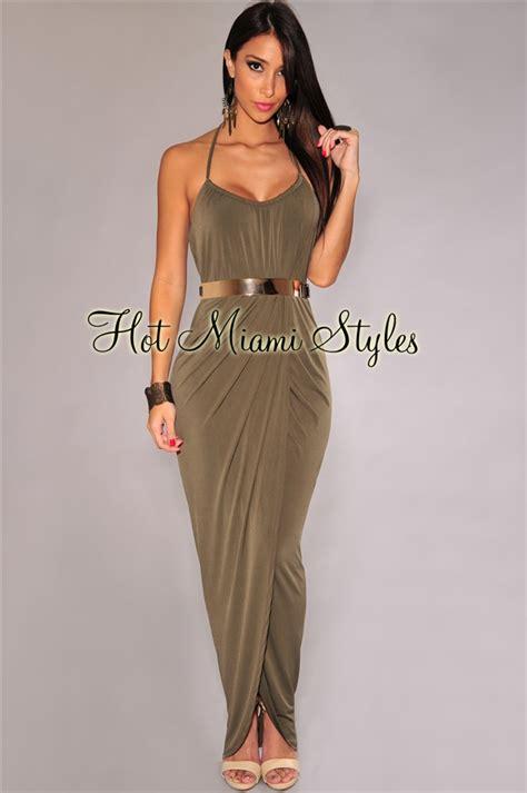 Maxi Renda Spandex olive halter gold belted maxi dress