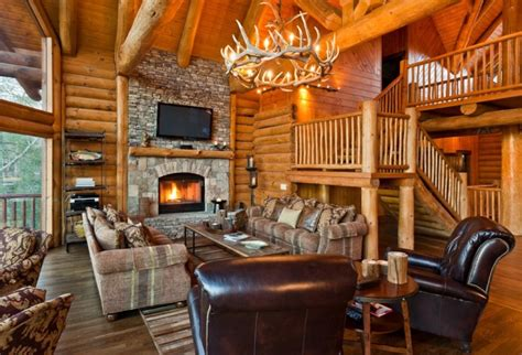 Log Home Living Rooms by 20 Cabin Living Room Designs Ideas Design Trends