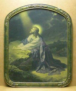 antique framed picture  jesus   garden