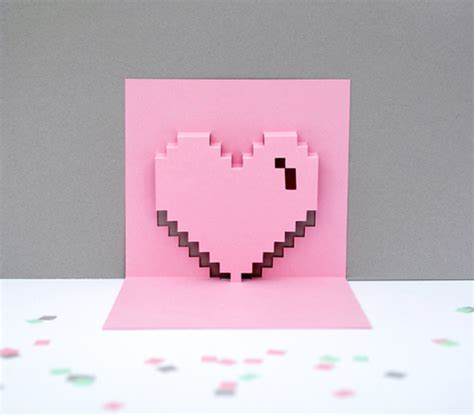 geeky valentines day card template express with diy pop up pixel valentines