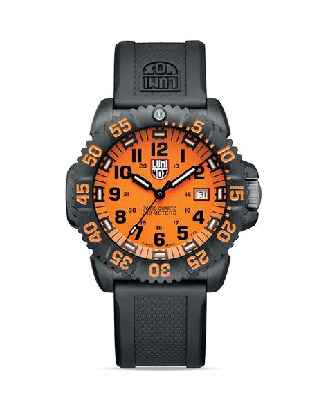 luminox navy seal colormark 3059 44mm in orange for lyst